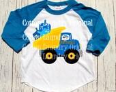 "Hanukkah childrens raglan baseball style tshirt ""Dreidel Trucking Co."""