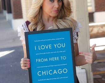 Personalized Chicago Art Print, I Love You From Here To CHICAGO - Choose Your Color