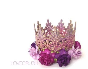 Princess Lace Crown    Rapunzel inspired    Tallulah    lavender orchid purple ombré with multi purple flowers lace MINI crown headband