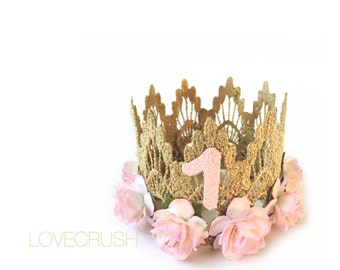 First Birthday|| MINI Sienna crown gold || palest pink flowers lace crown headband|| photo prop || customize ANY AGE|| keepsake box included