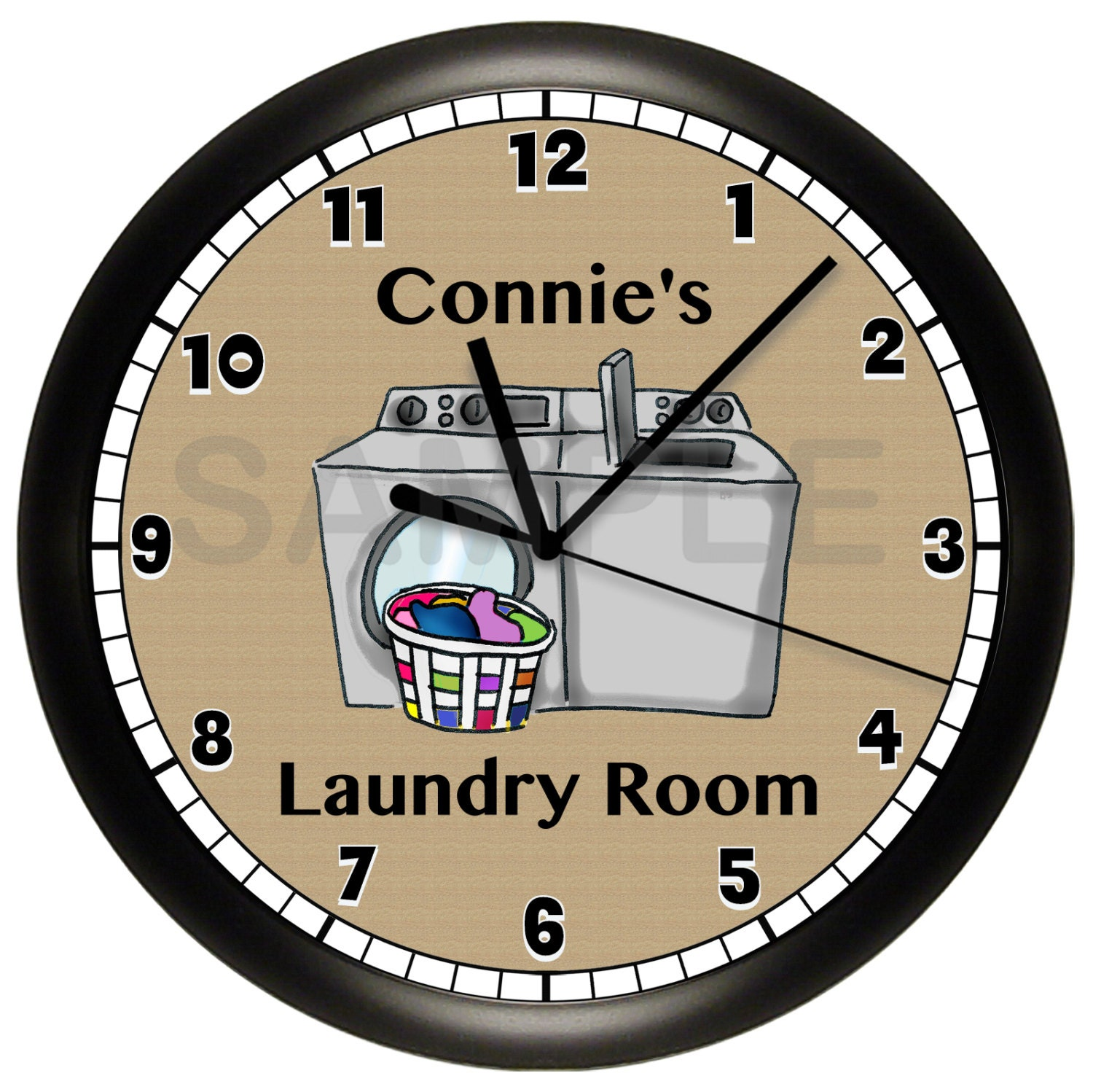 personalized laundry room wall clock