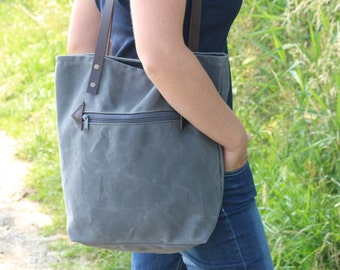 Waxed canvas tote bag - Waxed cotton bag - canvas tote bag - Waxed canvas shoulder bag - Every day bag - Summer bag - diaper bag