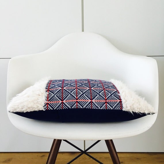 Boho Blue Mid-Century Pillow Cover 13x18 Lumbar