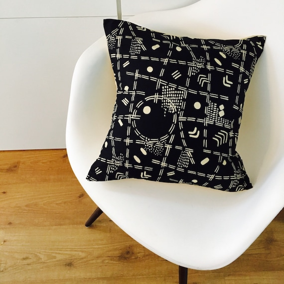 "SALE Black and Cream Boho Tribal Pillow Cover 18""x18"" Square Cushion Pillow Ethnic Bohemian Aztec Motif Geometric Abstract Cushion Cover"