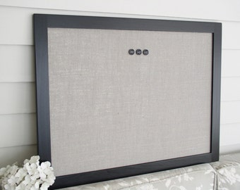 Modern Magnetic Burlap Bulletin Board with Handmade Black Wood Frame - Magnet Board - 20.5 x 26.5 Gray Burlap Covered Memo Board