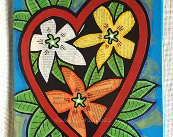 """Mixed Media Original by Susie Carranza - """"flower heart"""". 8"""" X 10"""" canvas. Acrylic paints, recycled papers."""