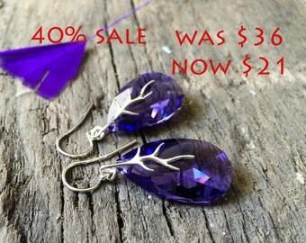 Crystal Earrings, Large Drop Earrings, 28mm Almond Shape Swarovski Earrings, Crystal Jewelry, Chunky Jewelry, Gift For Her, Violet Earrings