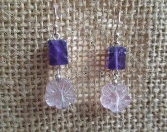 Amethyst And Florite Flower Earrings