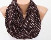SALE Brown polka dot infinity scarf ,loop scarf