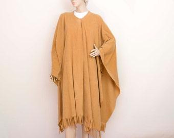 SALE fleece wrapfleece  poncho in camel