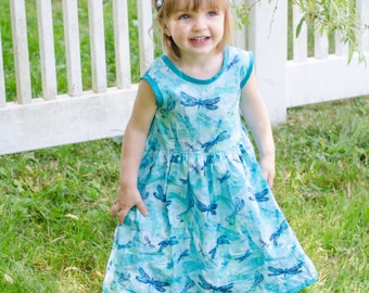 V Back Dragonfly Dress ( 2T,  3T, 4T, 5, 6, 7, 8, 10)