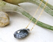 14k Solid Gold - Dendritic opal  solitaire necklace - pendant necklace