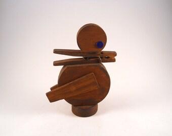 Vintage Wooden Handmade Folk Art Duck Memo Holder Desk