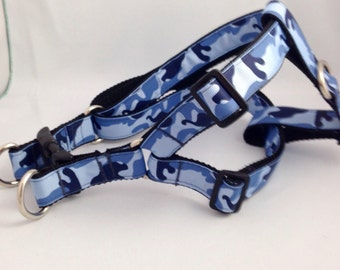 Blue Camo Step in Dog Harness