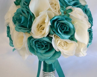 "Wedding Bridal Bouquets 17 Piece Package Bouquet Silk Flowers Bridesmaid Bride Calla Lily Emerald GREEN TEAL IVORY ""Lily of Angeles"" TEIV01"