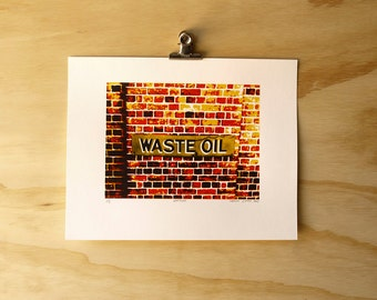 Limited Edition 'Waste Oil' hand-pulled screen print Serigraph Art Print