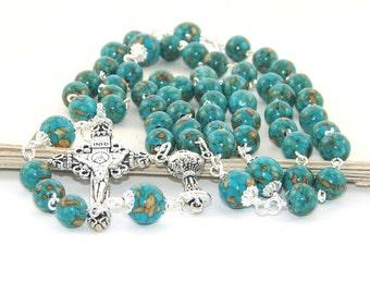 Turquoise Howlite & Silver Rosary Beads, Catholic Man or Catholic Woman's Handmade Rosary