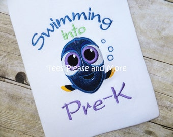 Dory Inspired School T-shirt  Pre-K, Kindergarten, 1st Grade, 2nd Grade