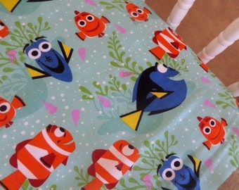 Disney's Finding Dory .  Light Blue Baby CRIB or TODDLER fitted bed SHEET sewn by me