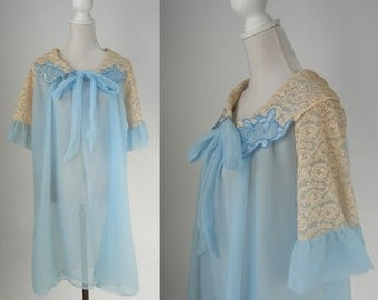 Vintage Robe, Blue Vintage Robe, 1950s Lace Robe, Women's Vintage Blue Robe, Retro Peignoir, 1950s Boudoir, 50s Blue Nightgown, Lace Robe
