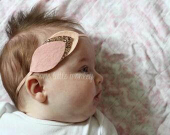 Boho Leaf Headband - Nylon Headband - One Size Fits All - Rose Gold + Blush + Glitter