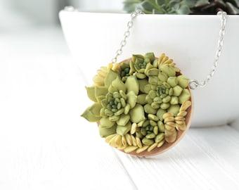 Green Succulent Pendant Handmade Wooden Basis Round Medallion Pendant Jewelry Succulent wedding birthday gifts