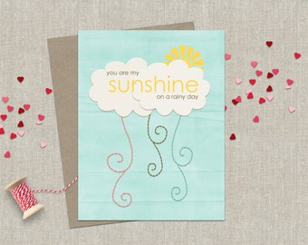 Greeting Card Birthday Sunshine Valentines Day Friendship Love Card Blue White Yellow Cloud