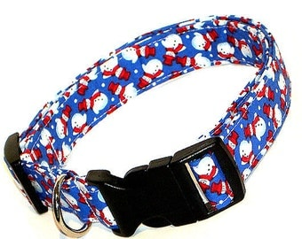 Pet Snowman Dog Collar, Adjustable Dog Collar, Fabric & Nylon Dog Collar - Adorable Pet Snowman Dog Collar Blue