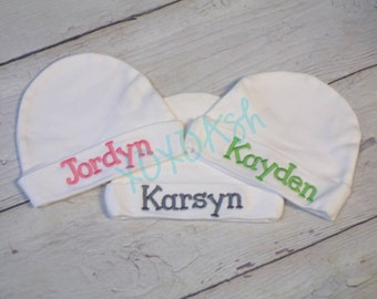 Infant or Newborn Cap with Embroidered Name with Font and Color options-newborn gift baby shower gift going home outfit--Embroidered Cap