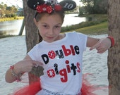 Personalized front, back, red double digits fun for 10 years - personalized applique SHIRT, girl tween, red dot birthday number name on back