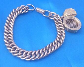 Vintage Gold Tone Gold Panning Theme Chunky Link Bracelet