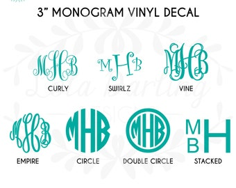 3 Inch Monogram Vinyl Decal Solid or Glitter