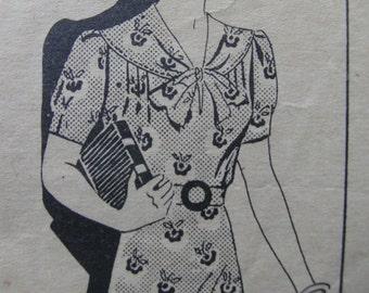 Fabulous Vintage 30s Misses' Dress Pattern PRETTY LITTLE KNOT