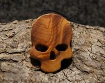 Gotic Skull , jewelry wood Skeleton, Olive wood Hand Cut Pendant Scroll Saw