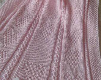 Baby Blanket #2 Pink*,  Pink Baby Blanket, Hand Knit Baby Afghan, Handmade Baby Blanket, Baby Gift, Baby Shower Gift, Christening Blanket
