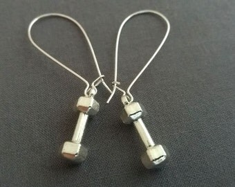 Dumbell Earrings. Silver Dumbell Charms. Fitness Jewelry. Dangly Earrings. Weight Lifting Workout Jewelry