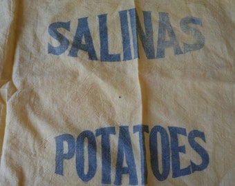 Vintage Potato Sack Salinas Potatoes Yellow Muslin