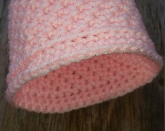 0-3 Month Beanie, Pink Baby Hat, Crochet Hat, Baby Girl Hat, Baby Girl Photo Prop, Baby Beanie, Infant Hat,