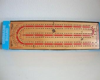 Vintage Cribbage Board Wood, Continuous Track Cribbage Board