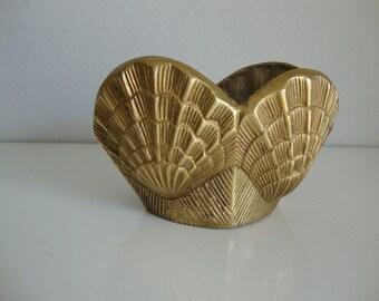 Brass Sea Shell Planter, Brass Flower Pot, Small Planter, Detailed Bowl