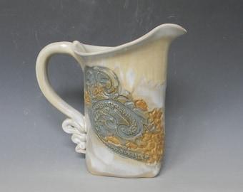 Gold White Wave Lace Ceramic 1-qt. Pitcher