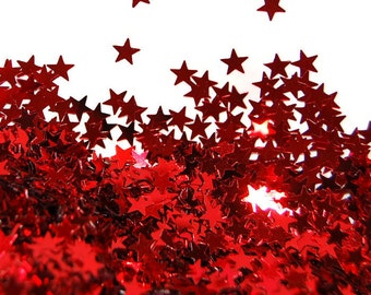 Red Glitter Medium Stars - 1 Fl. Ounce