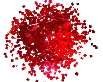 Red SOLVENT RESISTANT Glitter 0.125 x 0.125 SQUARES - 1 Fl. Ounce for Glitter Nail Art, Glitter Nail Polish and Glitter Crafts