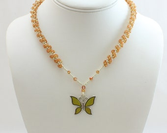 Butterfly Necklace - Beaded Jewelry - Mood Necklace - Seed Bead Jewelry - Flower Rope Necklace - Beadwork Jewelry - Color Changing Necklace