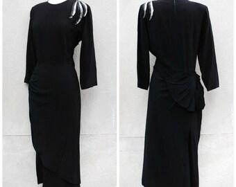 Rare 1940s art deco black party dress - 40s Femme-Fatale cocktail dress - medium / large