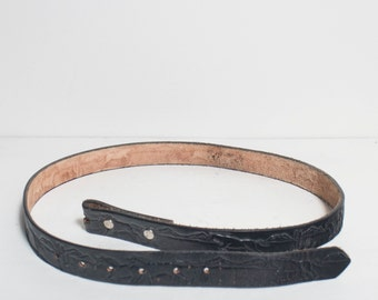 40 | Black Leather Belt Strap with Buck Lace Woven Details