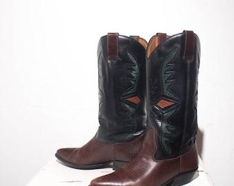 40% off Sale 7 M | Lizard Print Western Inlay Cowboy Boots