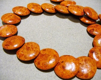Sponge Coral Beads Gemstone Overlapping Coin 20mm
