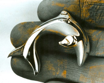 large dolphin leaping siver pendant