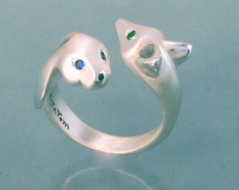 fox and bunny friends , silver ring pick your eye colors